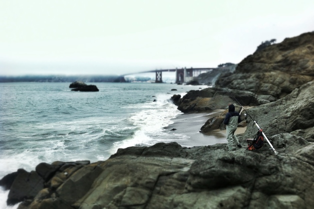 tilt shift fisherman